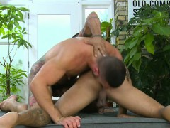 Muscle Gay Dildo With Facial