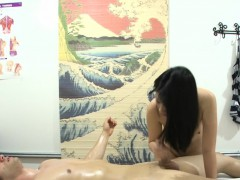 asian masseuse jerking and banging her client