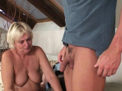 Boozed blonde old mother inlaw craving his cock