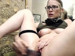 sexy cute blonde camgirl plays with her cunt and squirts