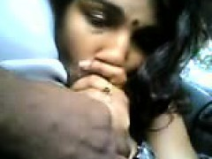 Smart Indian Girl Doing Blowjob To Her Bf Cock In Car.