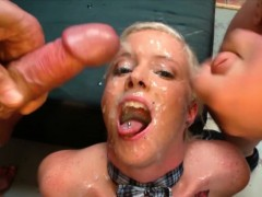 Blonde Skinny Bukkake Babe Lucy Gets Cum Covered