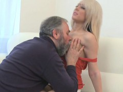Hot young gorgeous chick drilled by old dude