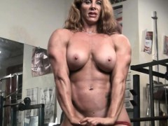 naked female bodybuilder cute red headed muscle
