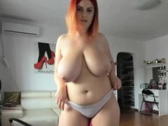 favorite yummy massive natural tits redhead sex show