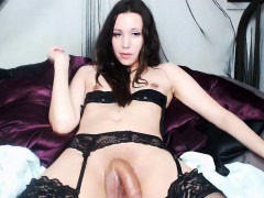 Unforgettable Tranny With Small Tits In Stockings