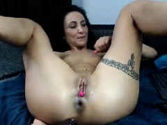 unshaved mature loved double penetration with toys WWW.ONSEXO.COM