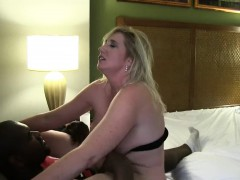Big breasted blonde MILF in hard interracial fuck action