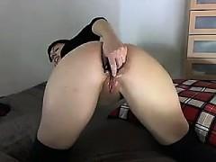 Tasha Amateur Brunette Babe Toying Pussy With A Large Dildo