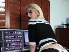 Solo Busty Blonde Transbabe Jerking Cock