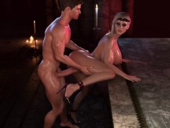 3d monster tits blonde enjoys big dick blowing with facial – 3d
