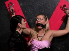 stud gets walked around on a chain in some cute femdom act