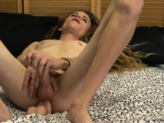 Amateur Tgirl Toying Her Ass With Dildo