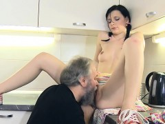 Young Attractive Babe Licked By Old Chap