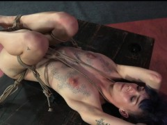 Inked bdsm sub whipped and toyed by maledom