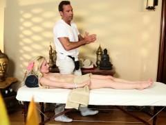 Amateur Massage Babe Gagging On Masseurs Cock