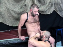 Bare Fucked Leather Bear Toyed In Creamed Ass