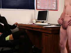 Brit Voyeur Instructs Sub To Jerk In Office