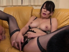 horny japanese gets juicy with large dildo, fingering vagina
