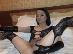 Trap Cums On Her Black Lingerie!