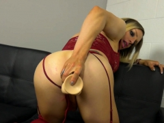 Dildo Stuffed Tranny Gets Anally Pounded