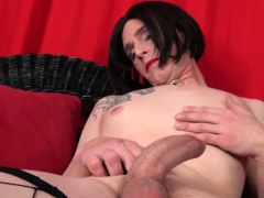 Transitioning Tgirl Tugging In Solo Scene