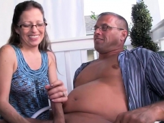 Nerdy mature tugging husband outdoor
