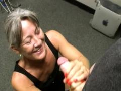 mature bosslady facialized after wanking woman