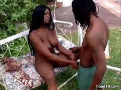 gorgeous-black-girl-sucking-outdoors