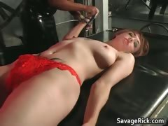 Nasty Redhead Slut Gets Tied For Table Part6