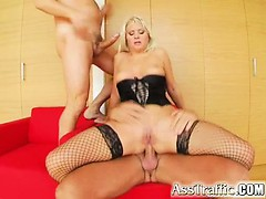 Two of our guys destroy her ass and pussy. After a hard DP