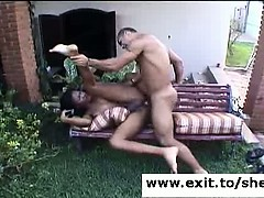 Ebony Tranny Ariadna Ass Fucked In Backyard
