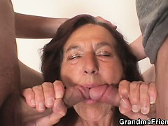 Old Bitch Swallows Two Young Dicks