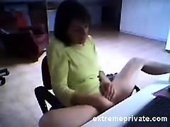 Spying Mom Masturbating In Her Office