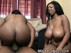 Bouncy Black Girls Riding On Dick In A Threesome