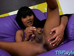 Tight Black Haired Shemale Emmy Handjobs Her Hard Dick