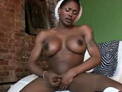 Ebony Shemale Masturbating