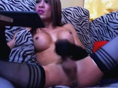 Hot Busty Shemale Jerking Her Big Hard Cock