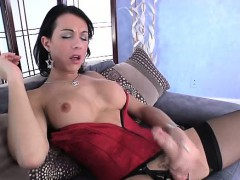 Lingerie Shemale Tranny Wanking Her Cock