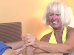 Handjob Loving Granny Tugging Hard Dick