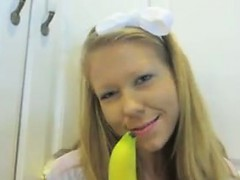Teen Maturbates With A Banana In The Kitchen