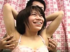 Cute Japanese Chick Gives Naked Dude Nice Handjob