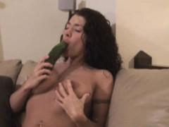 Girl Sucks A Vegetable Then Fucks Herself