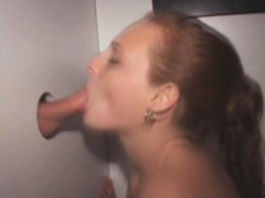 Amateur With Red Hair Slurps Dick At Glory Hole