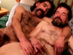 Redneck Hairy Bears Cum While Tugging