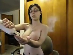 Nerdy Girl Shows Off Her Big Breasts