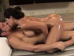 Super Hot Brunette Gives Oiled Sex Massage