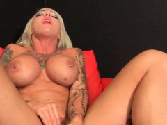 Sexy Muscle Blonde Enjoying Glass Dildo