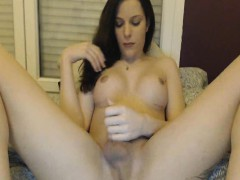 Gorgeous Tranny Insert A Huge Dildo In Her Ass