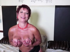 sexy redhead mature masturbates